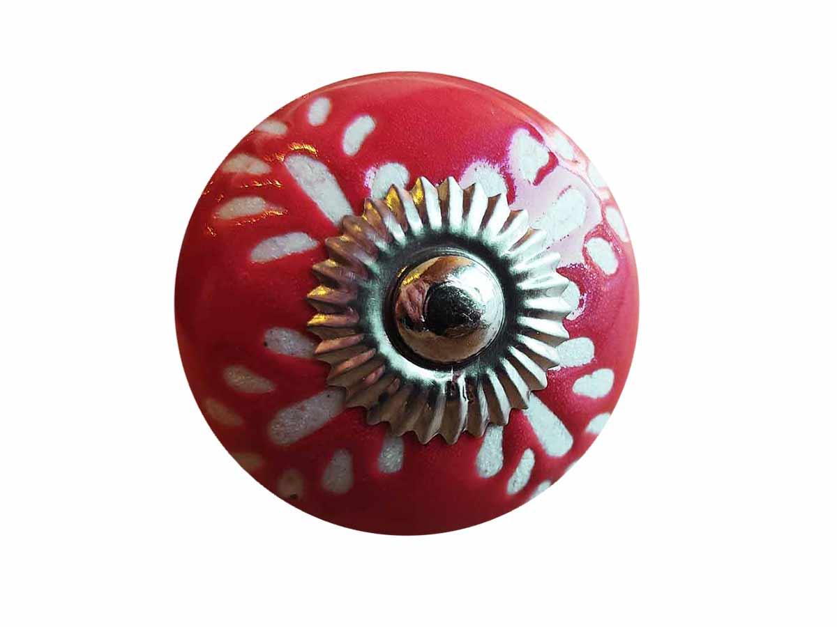 Puxador Porta Cerâmica Vermelho  - Lemis