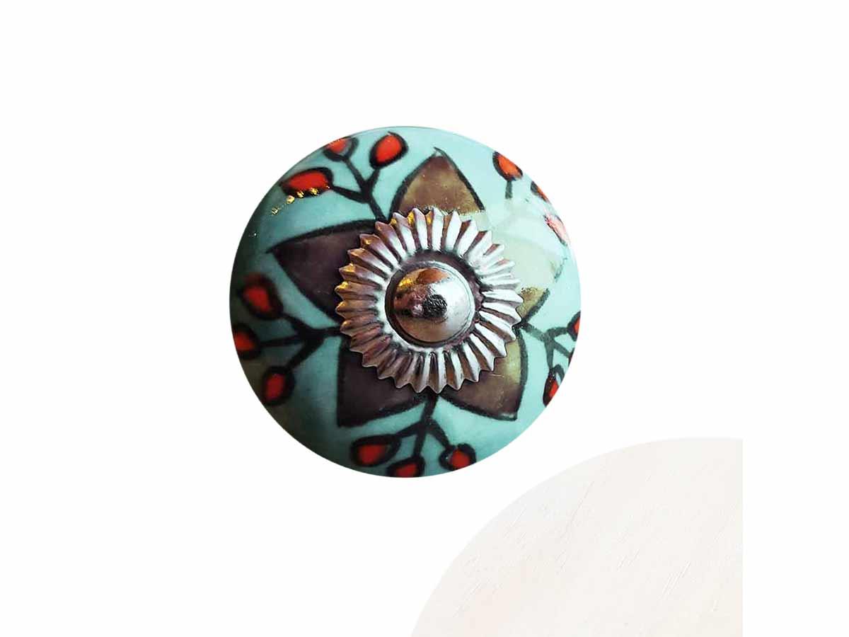 Puxador Porta em Cerâmica Azul Claro  - Lemis