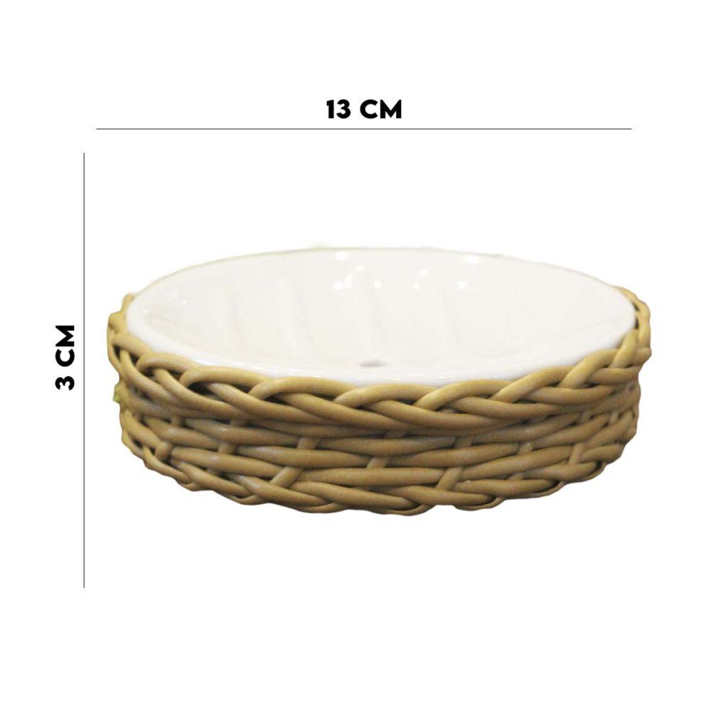 Saboneteira Redonda Cerâmica com Rattan  - Lemis
