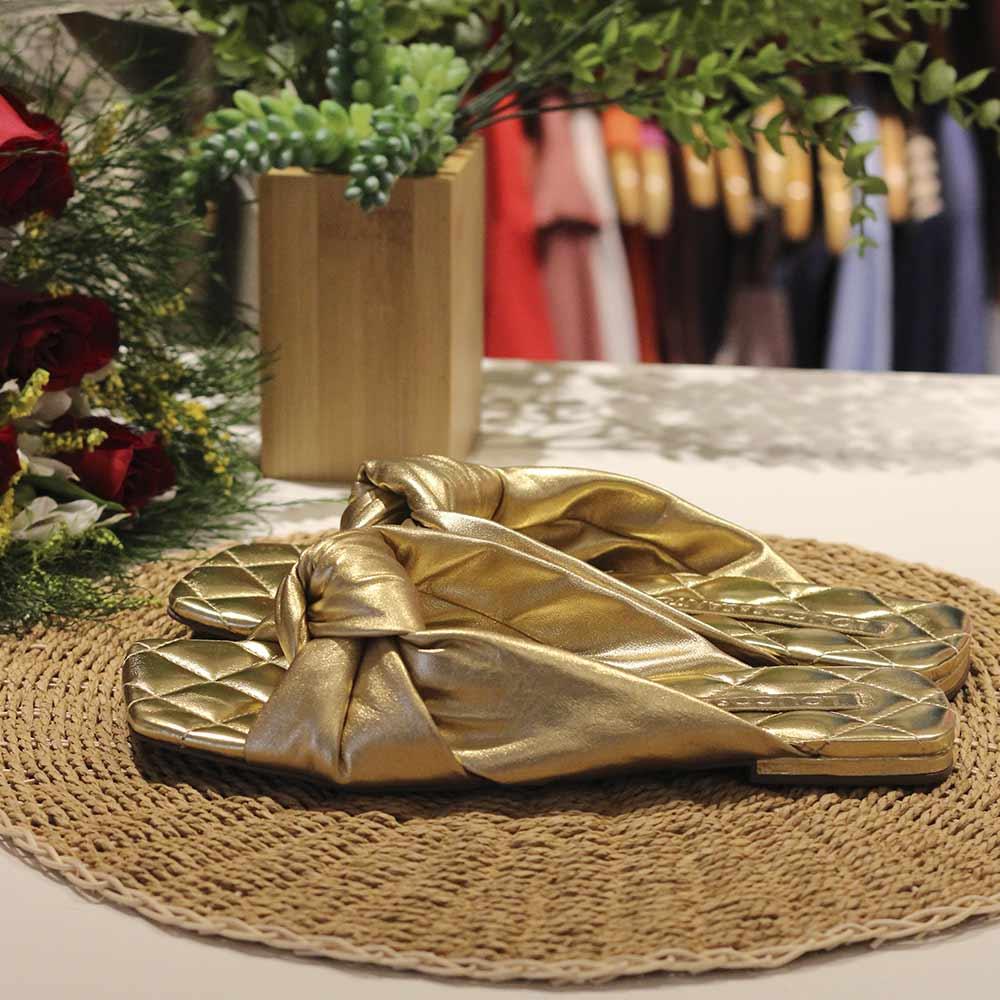 Sandália Dourada Nó Loucos e Santos  - Lemis
