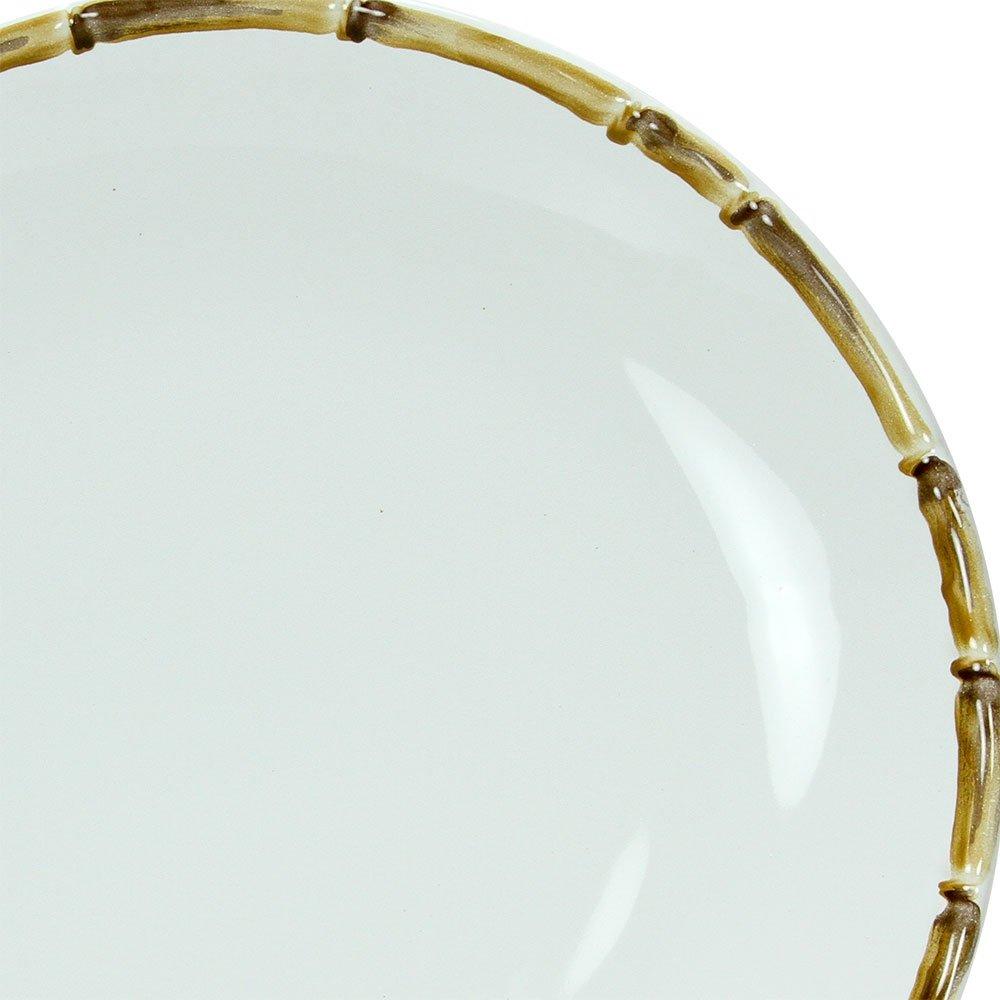Sousplat Branco Borda de Bambu 34cm 1ª Linha  - Lemis