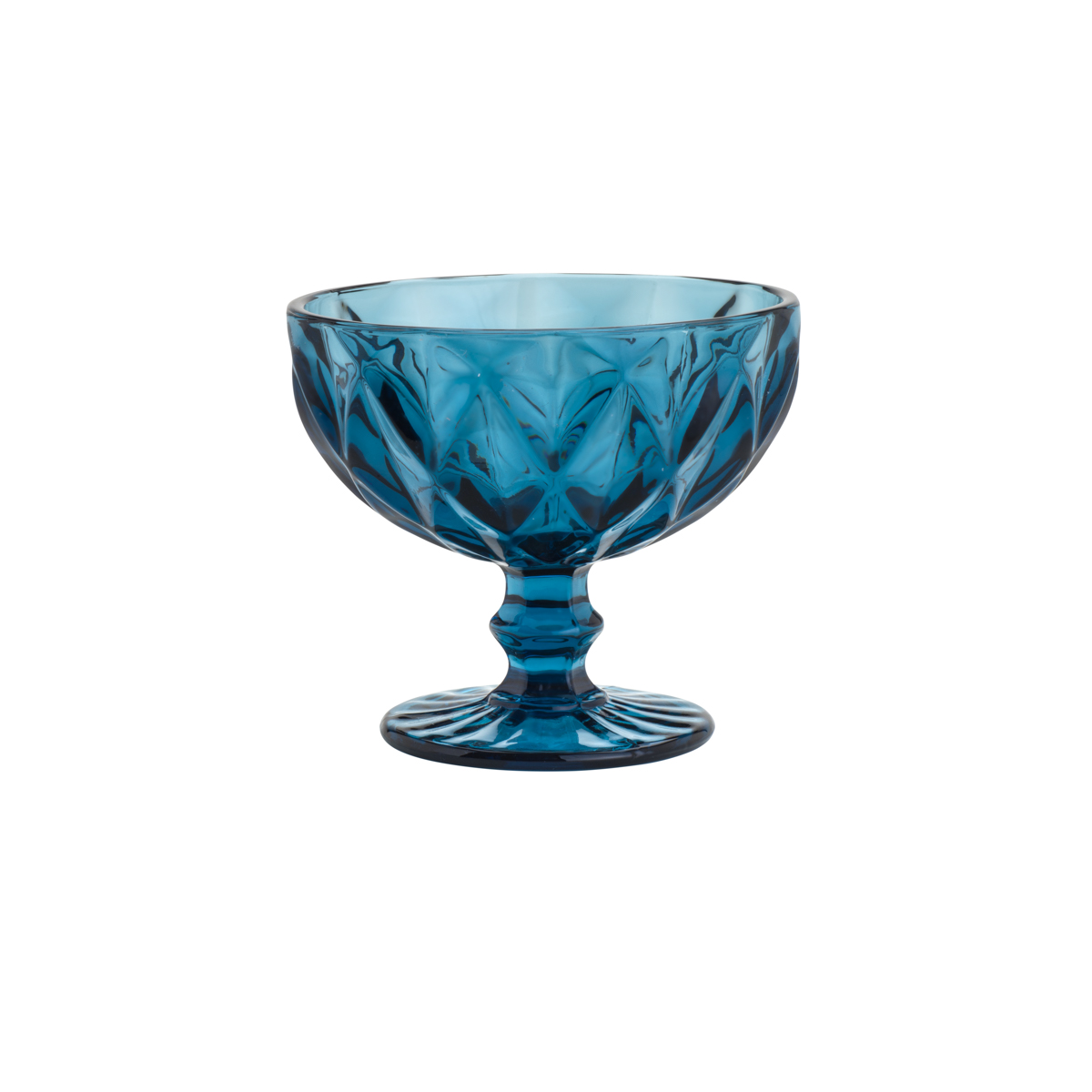 Taça Coupe de Vidro Sodo-Calcico Diamond Azul 310 ml  - Lemis
