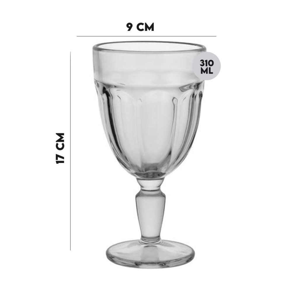 Taça de Vidro para água Transparente Gavin 310 ml  - Lemis