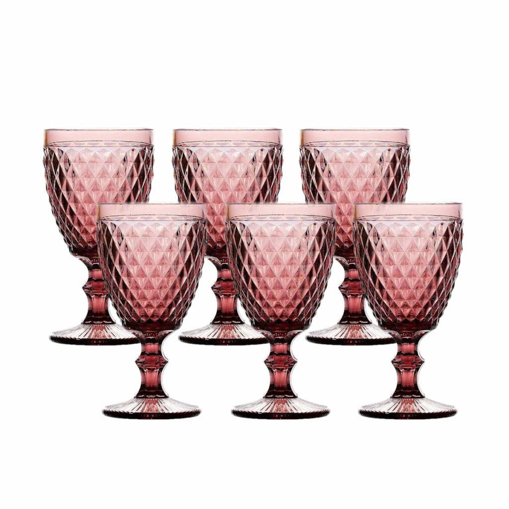 Taça para Agua de Vidro Sodo Calcico Bico de Abacaxi Lílas 325 ml  - Lemis