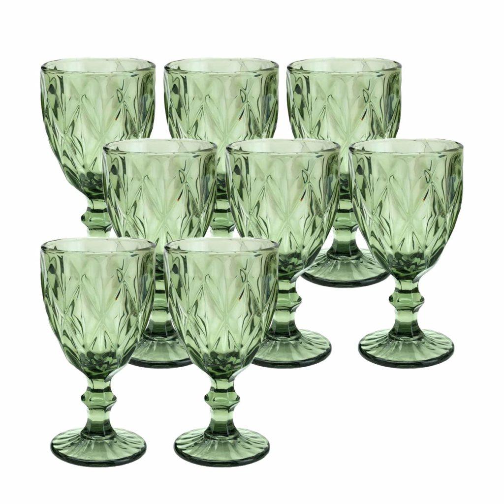 Taça para água de Vidro Sodo-calcico Diamond Verde 300 ml  - Lemis