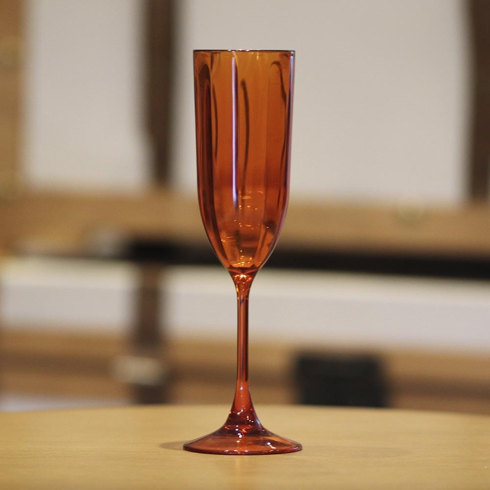 Taça para Champagne Acrílico Laranja In Casa 200 ml  - Lemis