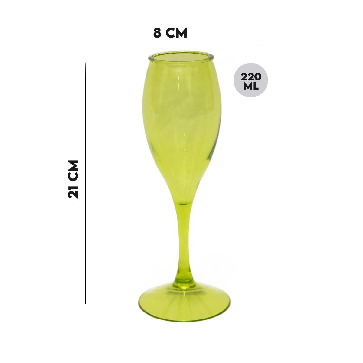 Taça para Champagne Acrílico Verde 220 ml  - Lemis