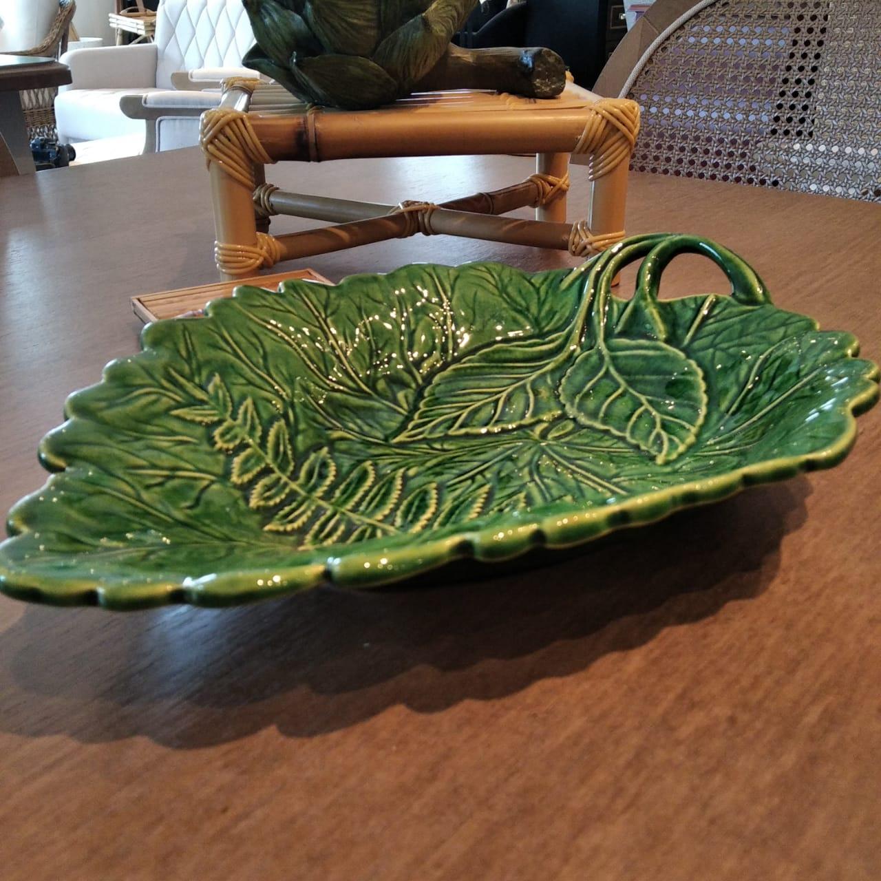 Travessa com Relevo de Folhas Verde 23x34cm  - Lemis
