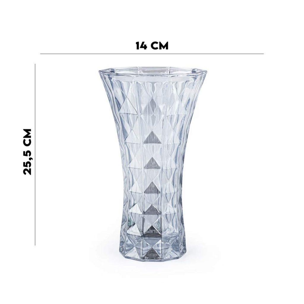 Vaso 25,5x14x14 Cristal de Chumbo Diamant Azul Wolff  - Lemis