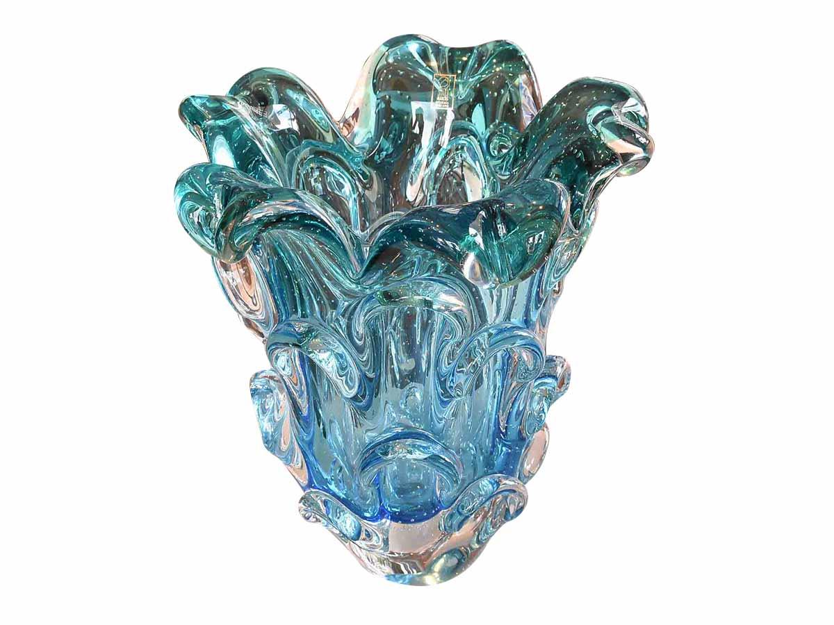 Vaso de Vidro Murano Azul Com Esmeralda São Marcos  - Lemis