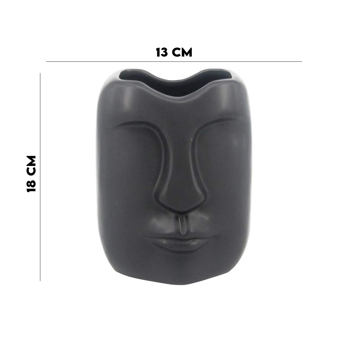 Vaso de Cerâmica com Formato de Rosto Preto  - Lemis