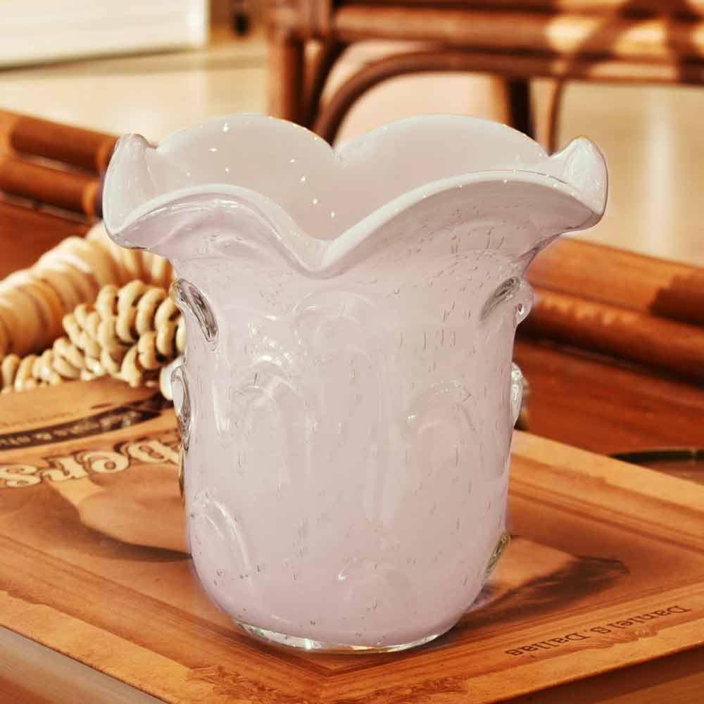 Vaso De Vidro Branco Murano 15x14cm  - Lemis