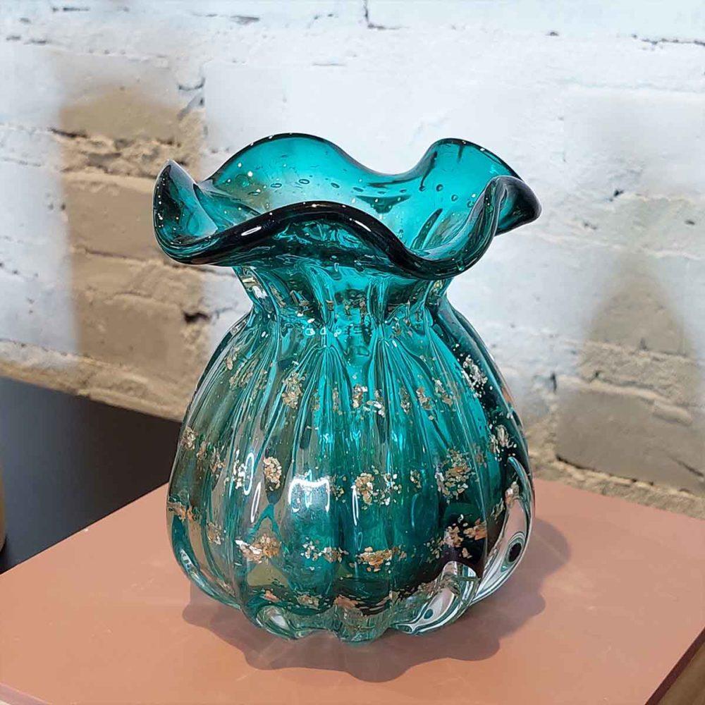 Vaso de Vidro Murano Italy Tifanny e Dourado 13x10cm Lyor  - Lemis
