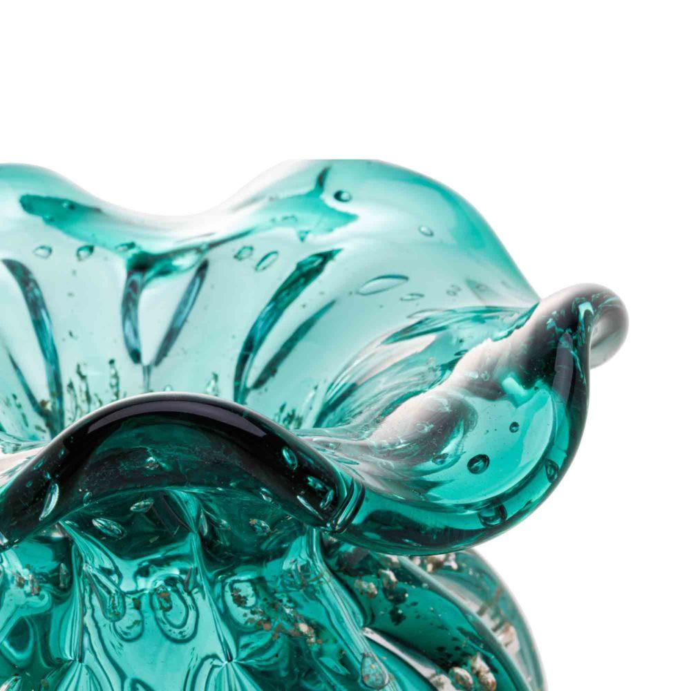 Vaso de Vidro Murano Italy Tiffany e Dourado Lyor 10x11cm  - Lemis