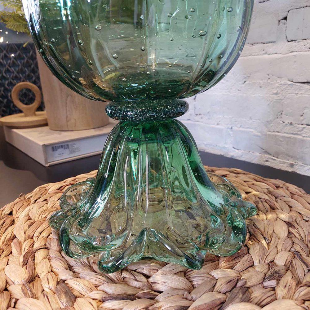 Vaso de Vidro Murano Paris Verde Esmeralda 30x27cm Cristais Tavares  - Lemis