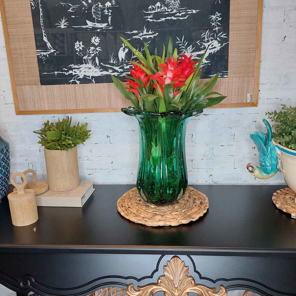 Vaso de Vidro Murano Tulipa Verde 40x32cm Cristais Tavares  - Lemis