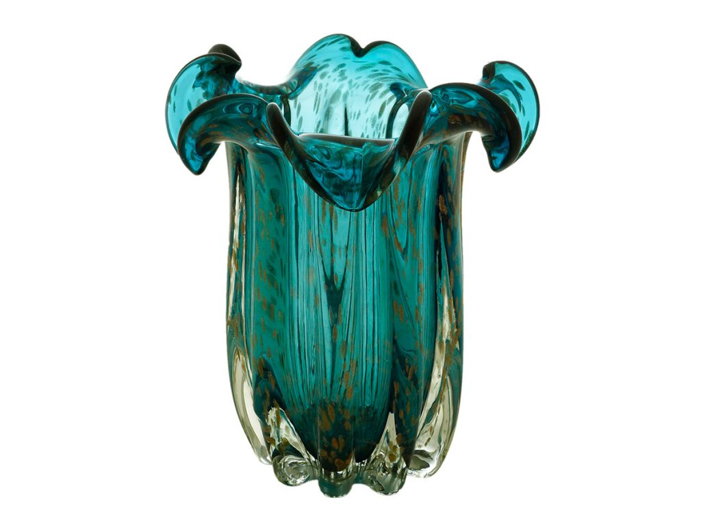Vaso Decorativo Flat Italy Lyor Vidro Azul Rose 23×16 cm  - Lemis