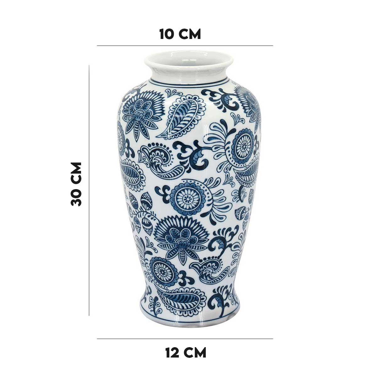 Vaso em Cerâmica Beijing Branco e Azul Home e Co  - Lemis