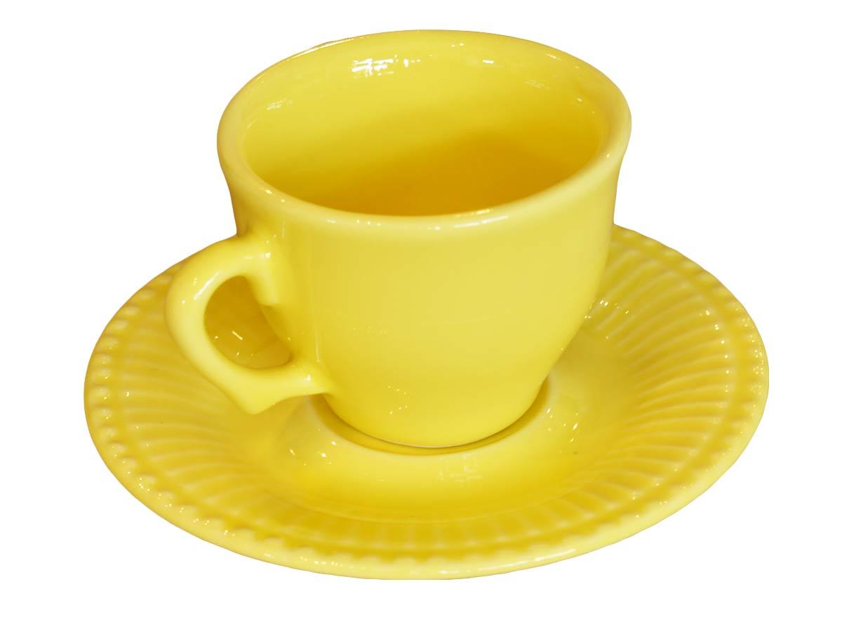Xícara Café Com Pires Frisada Amarela Scalla  - Lemis