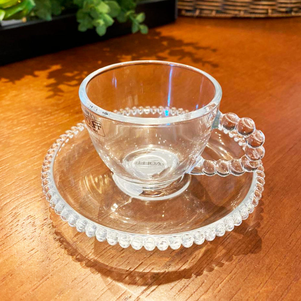 Xícara Cristal de Chumbo para Café com Pires Pearl Wolff 90 ml  - Lemis