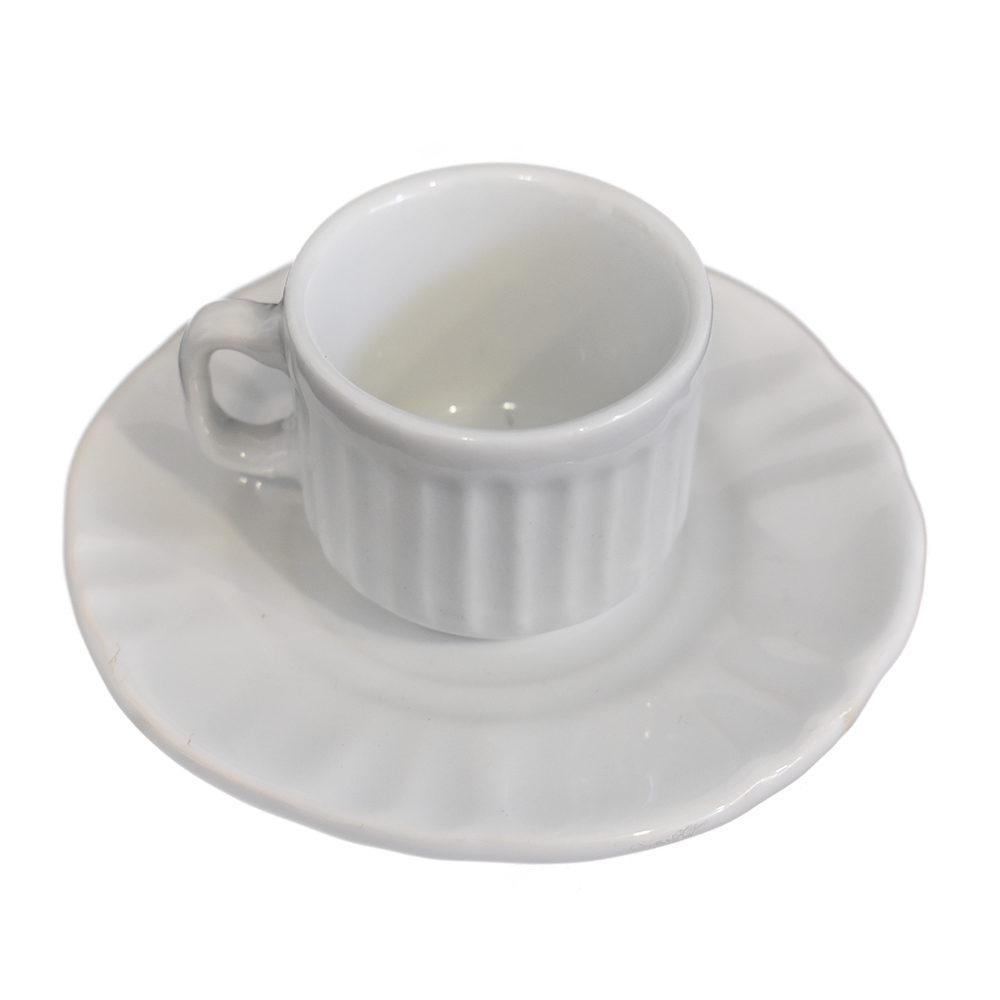 Xícara de Café 50ml com Pires Branco Demo  - Lemis