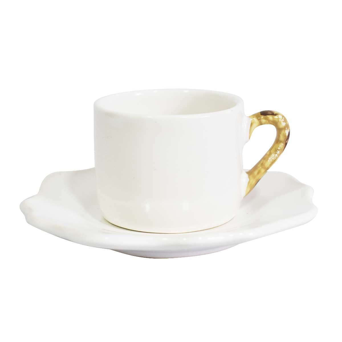 Xícara de Café Bambu com Pires Florido 2ª Linha  - Lemis