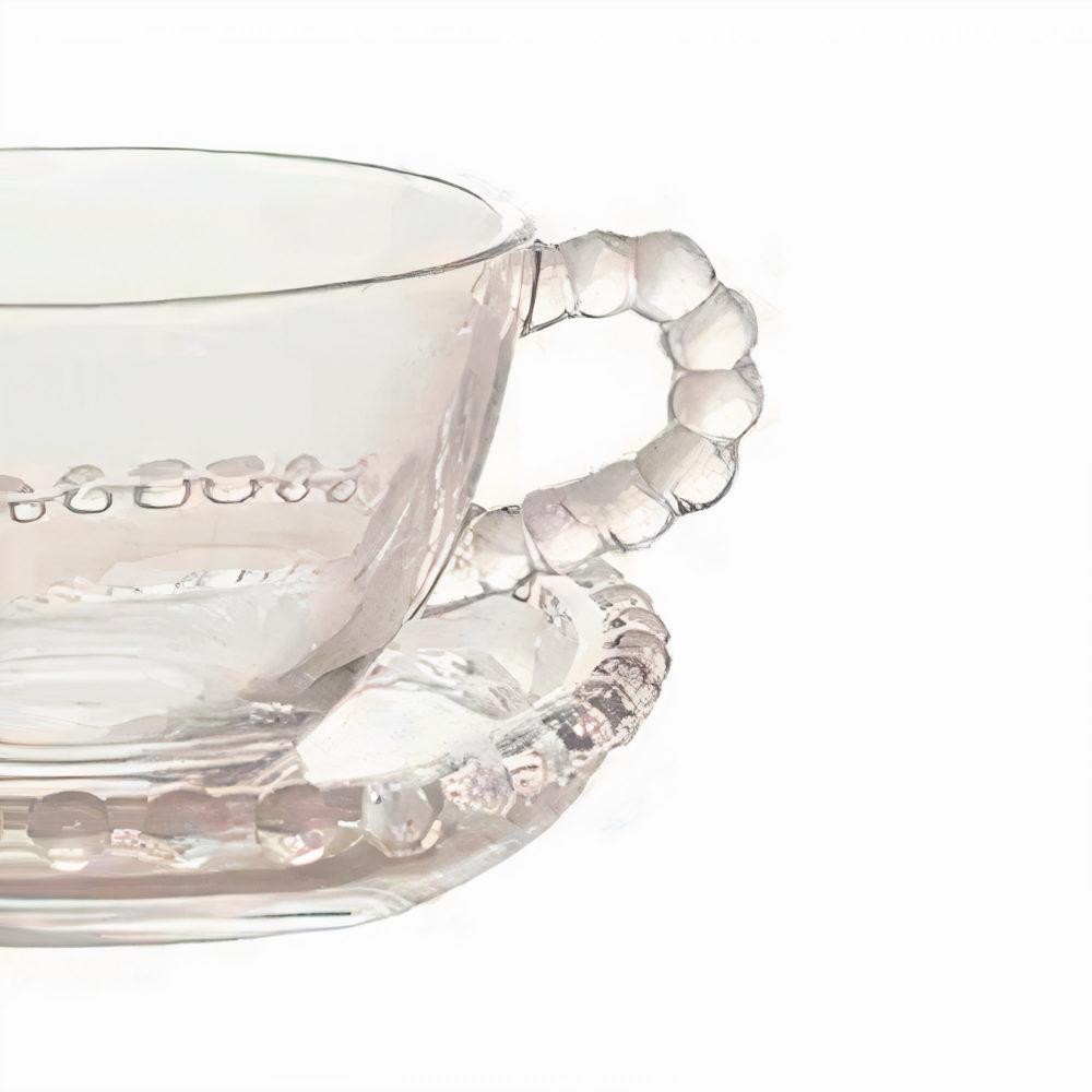 Xícara p/Chá c/Pires de Cristal Coração Lyor 170ml  - Lemis