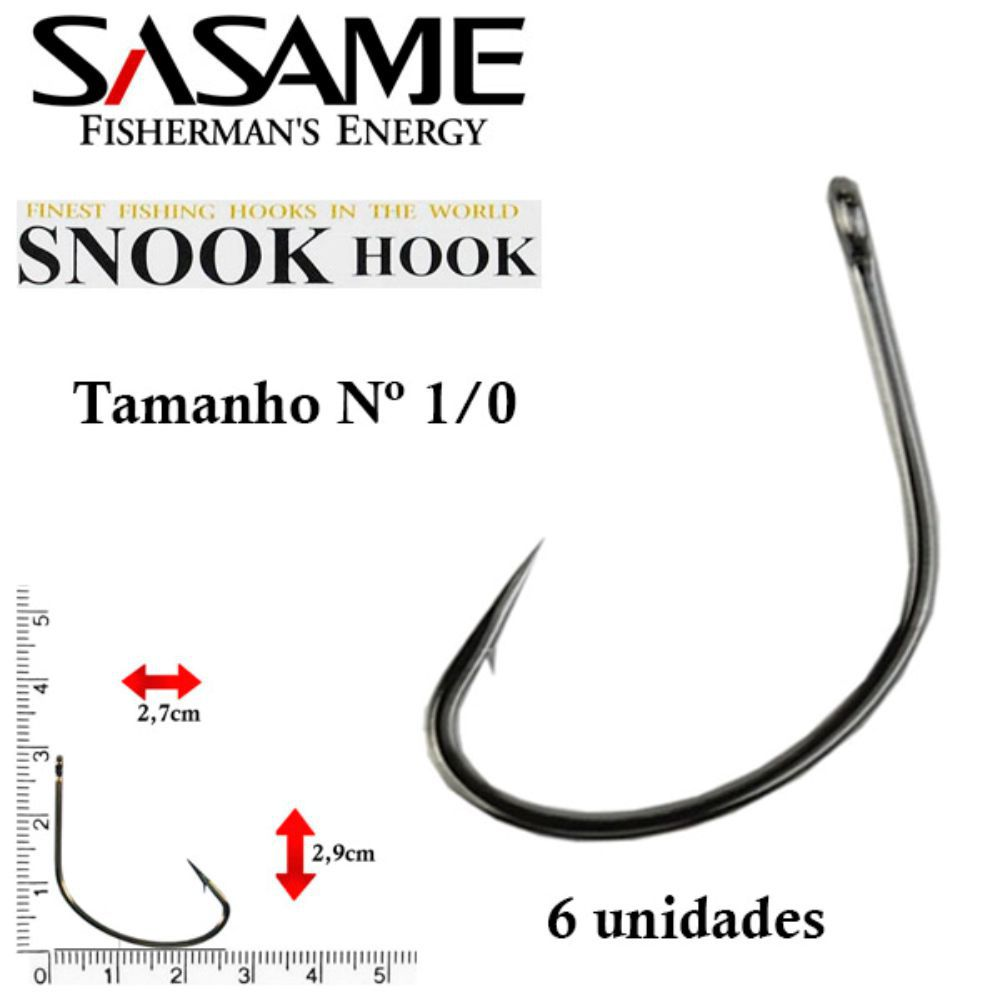 Anzol Japones Snook Hook Black nº 1/0 6 unidades Sasame