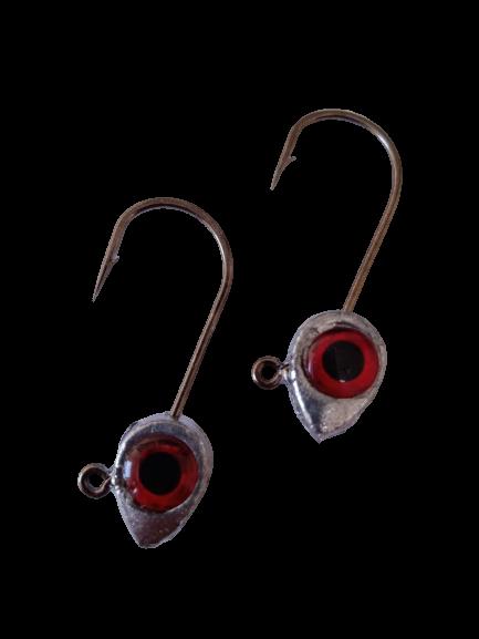 Anzol Jig Head Reforçado 1/0 7g Olho 3D Vermelho Holográfico 2 Unidades