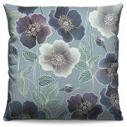 Almofada Estampada Colorida Decorativa Flores Azuis 52
