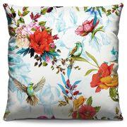 Capa de Almofada Estampada Colorida Florata Beija-flores 103