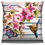 Capa de Almofada Estampada Colorida Florata Pássaros 331