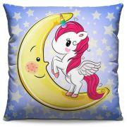 Capa de Almofada Estampada Colorida Kids Unicórnio na Lua 197