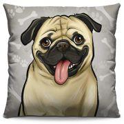 Capa de Almofada Estampada Colorida Pets Pug 297