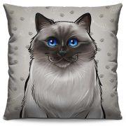 Capa de Almofada Estampada Colorida Pets Siamês 304