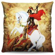 Capa de Almofada Estampada Colorida Religiosa São Jorge