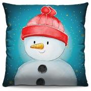 Capa de Almofada Estampada Decorativa 40x40 Natal Boneco de Neve Tons Azuis
