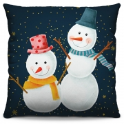 Capa de Almofada Estampada Decorativa 40x40 Natal Bonecos de Neve Tons Azuis Escuro