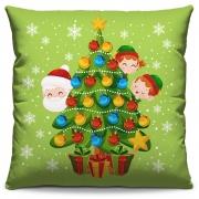Capa de Almofada Estampada Decorativa 40x40 Natal Papai Noel Árvore Verde Crianças