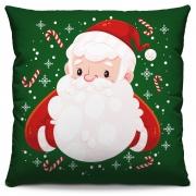 Capa de Almofada Estampada Decorativa 40x40 Natal Papai Noel Verde