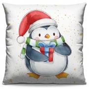 Capa de Almofada Estampada Decorativa 40x40 Natal Pinguim Gorro Vermelho