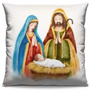 Capa de Almofada Estampada Decorativa 40x40 Natal Sagrada Família