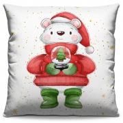 Capa de Almofada Estampada Decorativa 40x40 Natal Urso com Gorro