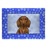Colchonete Cama Tapete Pet Cães 63x43cm Azul Basset