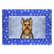 Colchonete Cama Tapete Pet Cães 63x43cm Azul Yorkshire