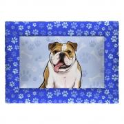 Colchonete Cama Tapete Pet Cães 87x60cm Azul Bulldog Inglês