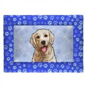 Colchonete Cama Tapete Pet Cães 87x60cm Azul Golden Retriever