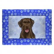 Colchonete Cama Tapete Pet Cães 87x60cm Azul Labrador