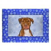 Colchonete Cama Tapete Pet Cães 87x60cm Azul Pitbull