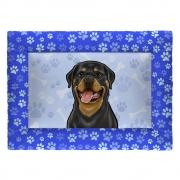 Colchonete Cama Tapete Pet Cães 87x60cm Azul Rottweiler